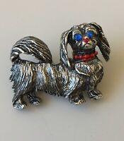 Vintage Dog  Brooch in pewter tone Metal