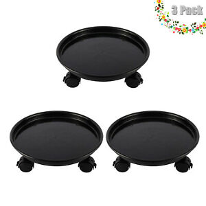 3 Pack Plastic Plant Pallet Caddy Stand Planter Mover Flower Pot Dolly Caster