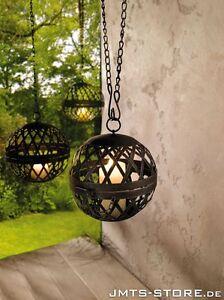 Hänge Windlicht Kugel Laterne hängend Kerzenhalter Metall Laterne Garten Deko