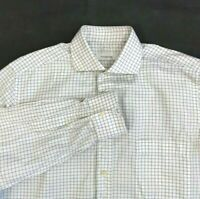 Ermenegildo Zegna Mens Shirt Brown Check White Spread Collar Size 16 41 Business