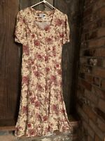 Vintage Floral dress Short Sleeve Button Front Aline Midi Dress cottagecore