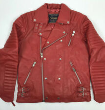 MENS GENUINE LEATHER BIKER JACKET MOTORCYCLE RIBBLES MOTO RED V Bomber ALL SIZES