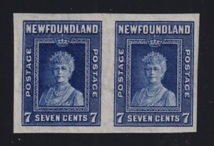 Newfoundland Sc #248a (1938) 7c Queen Mary Imperforate Pair Mint VF NH MNH