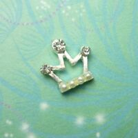 New Crown - Crystal & Pearl Charm for Floating Memory Living Locket Necklaces