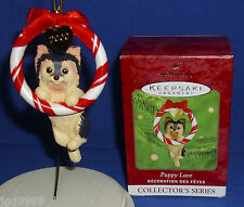Hallmark Ornament Puppy Love #10 2000 Yorkshire Terrier Dog in Wreath Used
