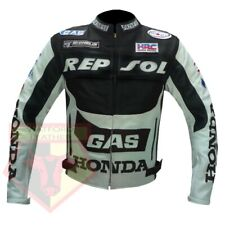HONDA GAS REPSOL BLACK MOTORCYCLE MOTORBIKE COWHIDE LEATHER ARMOURED JACKET