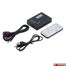 Hub 5 puertos HDMI Splitter Switch Con Control Remoto + Cable de alimentación XBOX PS TV DVD