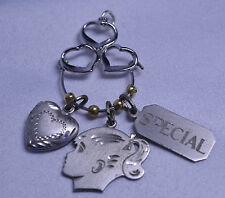 VTG BEAU STERLING SILVER CHARM HOLDER PENDANT WITH HEART LOCKET & 2 OTHER CHARMS