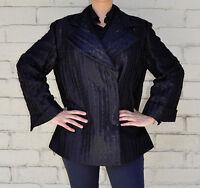 Giorgio Armani Black Label Black Wool Silk Jacket Womens 40 Italy