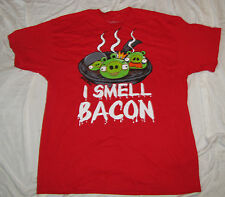 LARGE MENS T-SHIRT ANGRY BIRDS GREEN PIG KING GAME I SMELL BACON VIDEO GAME NEW!