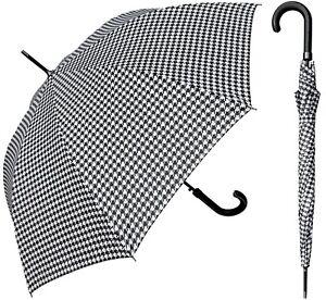 "48"" Arc Black & White Checker Print, Auto-Open Umbrella-RainStoppers Rain/Sun UV"