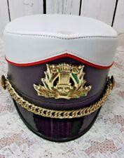 Vtg Shako Master Marching Band Helmet Hat XL With Lyre Badge Rare Black Visor