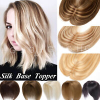 100% Russian Remy Silk Base Human Hair Topper For Women Clip In One Piece U825