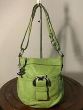 B. Makowsky Green Belt Leather Slim Shoulder Cross Body Slouch Tote Bag