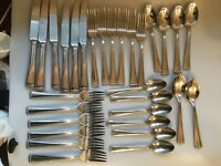 30 PIECES REED & BARTON CLASSIC BRAID PRE-OWNED FLATWARE SPOONS FORKS KNIVES