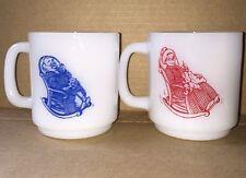 Glasbake Grandma And Grandpa Milk Glass Stackable Mug Set Of Two vintage