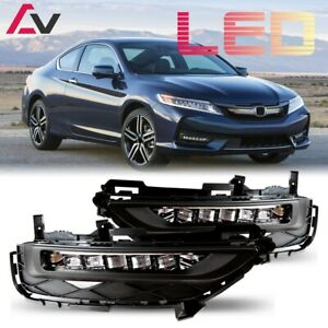 16-17 For Honda Accord Coupe Clear Lens Pair OE LED Fog Light+Wiring+Switch Kit
