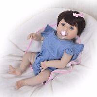 23inch Girl Full Body Soft Silicone Reborn Dolls Infant Baby Xmas Gift 2018 New
