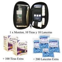 Glucomètre Compteur Sucre contre Sang Diabète Etui avec 100 Bandes 200 Lancettes