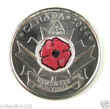 Canada 25 Cents Coin Remembrance Day Poppy. 2004, Colored, UNC