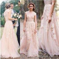 Wedding Dresses Vintage Lace Cap Sleeve Bridal Gowns Custom Size 2 4 6 8 10 12+