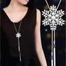 Damen Weihnachten Halskette Anhänger Schmuck Collier Silber lange Kette 75cm M10