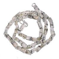 "Natural Green Rutile Quartz Gemstone Rectangle Smooth Beads Necklace 18"" BN-53"