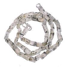 "Natural Green Rutile Quartz Gemstone Rectangle Smooth Beads Necklace 18"" BN-53RG"
