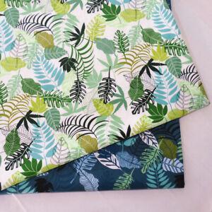 50x160cm Cotton Twill Fabric DIY Bedding Clothing Material Big Green Leaf MK B
