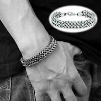 Men's Stainless Steel Bracelet Biker Curb Chain Link Bangle Silver Wristband 6mm