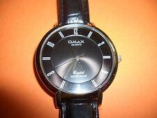 (T003) Omax Herrenarmbanduhr mit Lederarmband und Ersatzbatterie Crystallglas