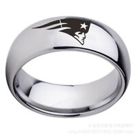New England Patriots Football Team Stainless Steel Men's Ring Band Size 6-13