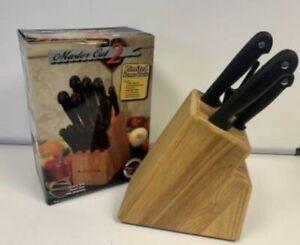 Wooden Knife holder block for 16 knifes storage rack holder bonus pack MASTER