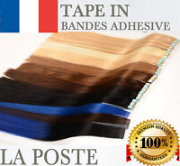 7A 15-30-60 BANDES EXTENSIONS TAPE ADHESIVES CHEVEUX 100% NATURELS REMY 49-60 CM