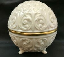 Lenox Usa Porcelaine Covered Vanity Jar: Scrolls W 24K Gold Trim