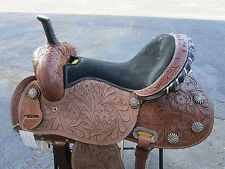 15 16 BARREL RACING SHOW RACER TRAIL PLEASURE LEATHER WESTERN HORSE SADDLE TACK