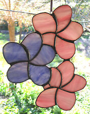 Pink Lavender Purple STRING OF WILD FRANGIPANI FLOWERS Stained Glass SUNCATCHER
