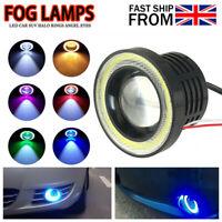 Pair 3inch 76mm COB LED Angel Eyes Car DRL Fog Light Len Projector Halo Lamp
