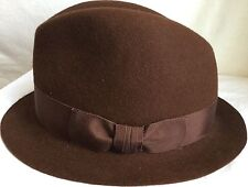MAKINS FUR FELT TRILBY 7 1/4 58 USA 100% BEAVER FUR FELT 7 3/8 BROWN FEDORA HAT