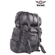 2 PC REAL LEATHER Large Sissy Bar Barrel Travel Bag for Harley Davidson