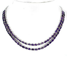Sterling Silver 925 Fancy Genuine Natural Amethyst Two Row Necklace 17 Inches