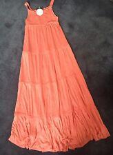 NEW M&S CORAL ORANGE LONG MAXI DRESS AGE 16