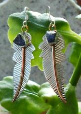 Earring Feather Sterling Silver 925 Natural Stone Tanzanite Blue of the December