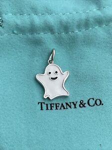 Tiffany & Co. Halloween Ghost White Enamel Pendant Charm in Sterling Silver