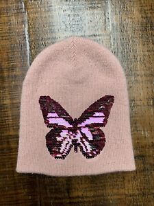 H&M Toddler Girls Pink Flip Sequin Butterfly Winter Hat Size 3T - 4T