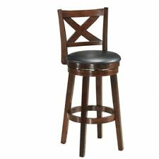 """New listing Swivel Stool 29"""" Bar Height X-Back Upholstered Dining Chair Kitchen Espresso New"""