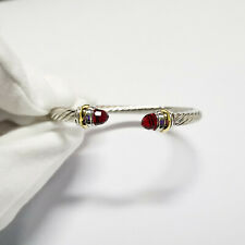 David Yurman 5mm Cable Classics Bracelet with Red Topaz and 14K Yellow Gold