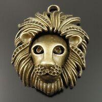 Antiqued Bronze Vintage Alloy Chic Of Cute Lion Head Pendant Charms 5pcs 35714