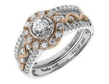 14k Gold Two Tone Solitaire Diamond Art Deco Engagement Bridal Ring Set 1ct