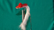 2QTY RABBIT STRIP DIVER  RED & WHITE Fly Fishing Flies size 1/0